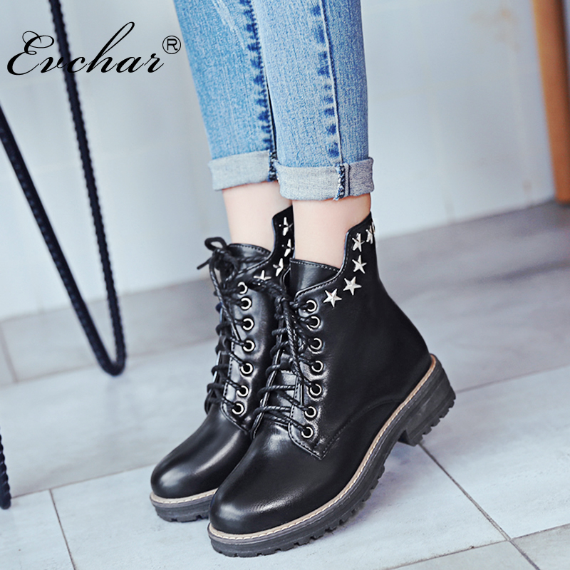New Hot Sale Women Boots Lace-Up Studded Rivets Ankle Boots Thick low Heels Platform Shoes Motorcycle Boots Size 34-43