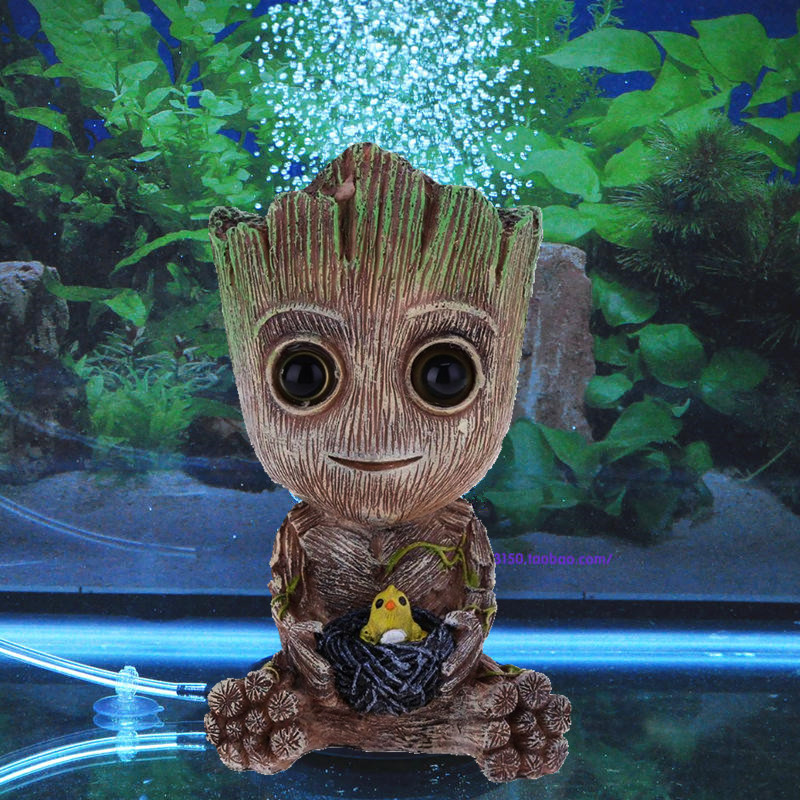 Aritificial Groot Arbre Bébé Aquarium Décoration Mignon Arbre Plante Action Figure Bubble Aquarium Ornement Décor Pour Fish Tank