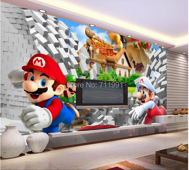 Custom children wallpaper,3D Mario cartoon murals for children's room living room bedroom TV backdrop waterproof papel de parede custom children wallpaper multicolored crayons 3d cartoon mural for living room bedroom hotel backdrop vinyl papel de parede