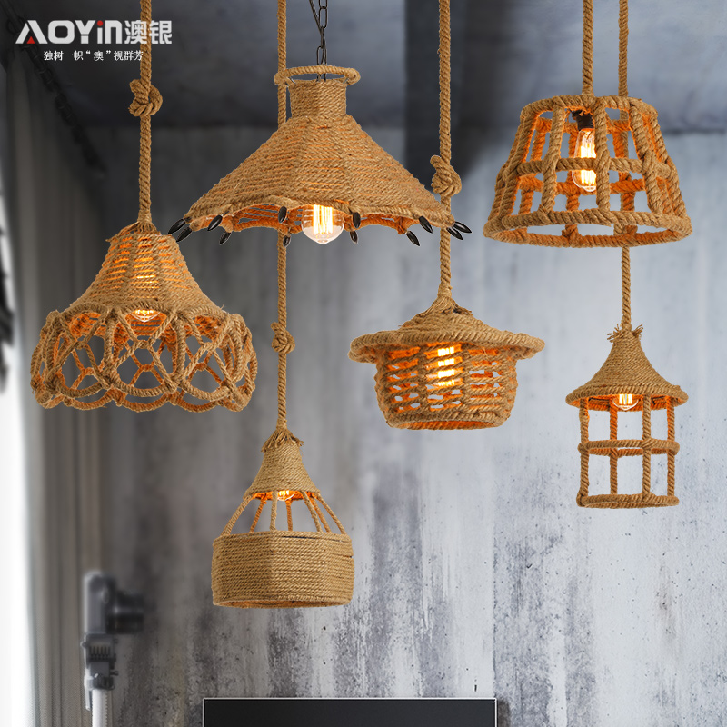 Vintage Rope Pendant Light Lamp Loft Creative Personality Industrial Lamp Edison Bulb American Style For Living Room decoration vintage style creative edison lamp personality decoration hemp rope pendant lamp hall cafe bar coffee shop store club