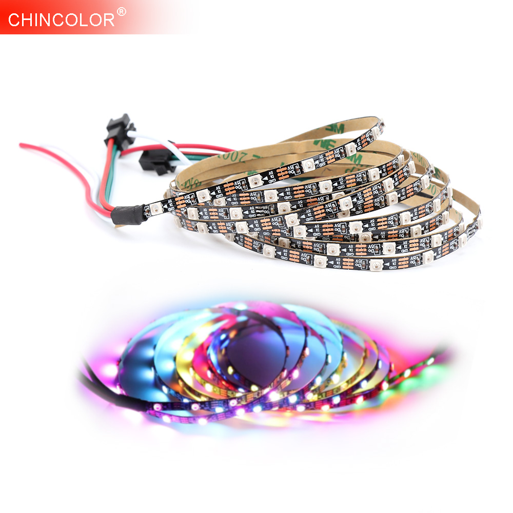 US $1 77 30% OFF 2M WS2812B Led Strip 3535 SMD 60led/M DC5V Dearm Color 4mm  Width Pixel Strip Black White PCB WS2812 IC Individual Addressable JQ-in