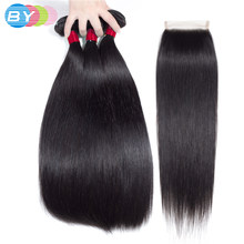 BY Brazillian Straight Hair weaving Bundles With Closure 28 30 32 inch Bundles With Closure Human Hair Weave Bundle With Closure(China)