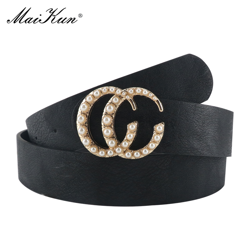 Maikun   Belts   for Women Pearl Decoration Double Ring Buckle Female Leather   Belt   Waistband for Pants Dresses