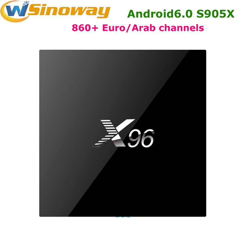Prix pour Quad core S905X Android 6.0X96 TV Boîte comprend 1 Année arabe Français canal + ROYAUME-UNI DE Afrique IPTV 860 + canaux iptv europe top boîte