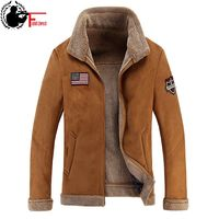 2019 Men Windbreaker Coat Winter Male Fur Coat Men Jacket Velvet Thick Fleece Slim Fit Jacket Warm Stand Collar Cardigan Outwear
