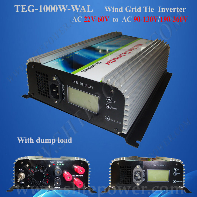 1KW Wind Turbine On Grid With Dump Load Resistor, 3 Phase Inverter AC 22V-60V Input Wind Grid Tie maylar 2000w wind grid tie inverter pure sine wave for 3 phase 48v ac wind turbine 90 130vac with dump load resistor