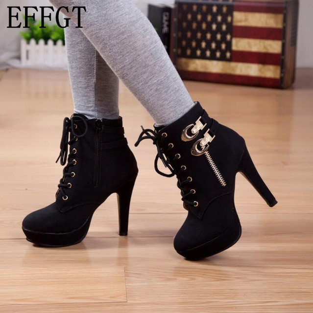 c8384abdc97 EFFGT Fashion 2017 Women Martin Boots Platform Suede Women High Heels Boots  Black Sexy Ladies Boots Shoes Heels 10cm