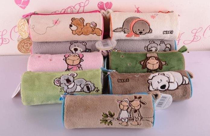 candice guo! NICI plush animal cute cylinder Pencil bag cartoon lover sheep bear koala sea lion Cosmetic bag 1pc