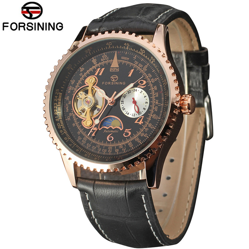 2018 Forsining Moon Phase Automatic Watch Men Watches Top Brand Luxury Leather Mechanical Watch Men Wristwatch Relogio Masculino sollen mens watches top brand luxury moon phase automatic mechanical watch men casual fashion leather strap skeleton wristwatch