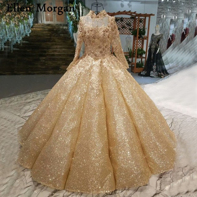 Gold Glitter Wedding Dresses For Women High Neck Long Sleeves Lace Up Beaded Puffy Bridal Gowns