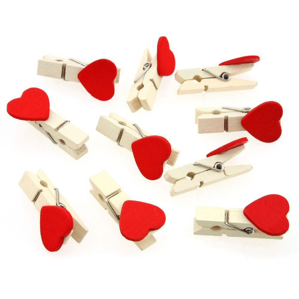 10Pcs/Pack Fashion Wooden Cute Red Love Heart Pegs Photo Album Paper Clips Wedding Decoration Craft