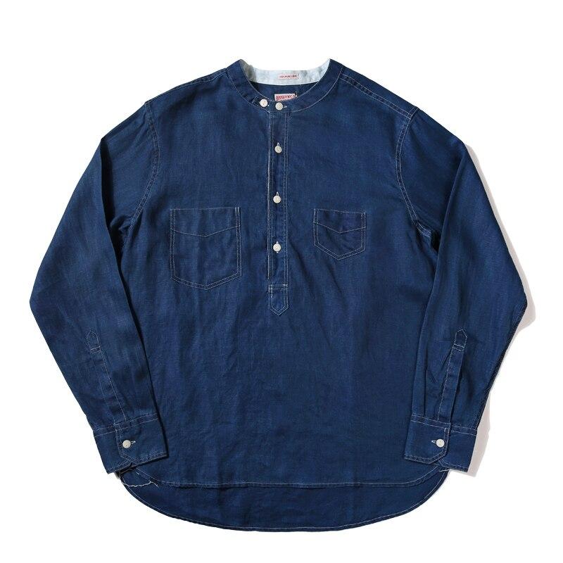 Lire Descriptif! Asiatique taille LOT920 hommes décontracté manches longues chemises en lin mans 7 oz vintage chemise en lin