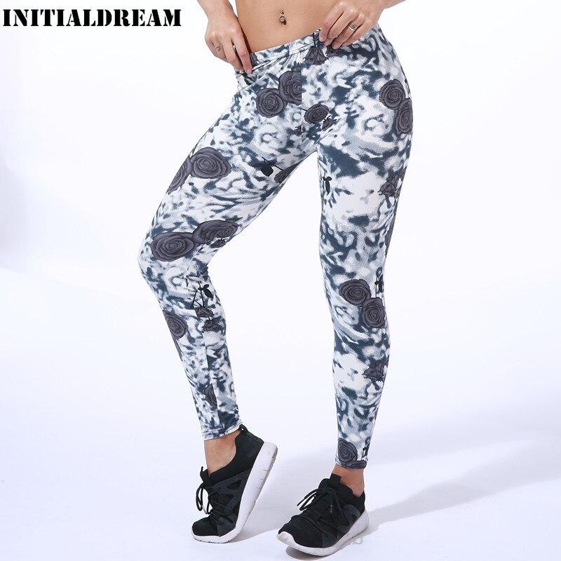 Gray Rose Printed Women Casual   Leggings   New Fashion High Elasticity Slim Skinny Fitness   Leggings   Trouser Pants For Women