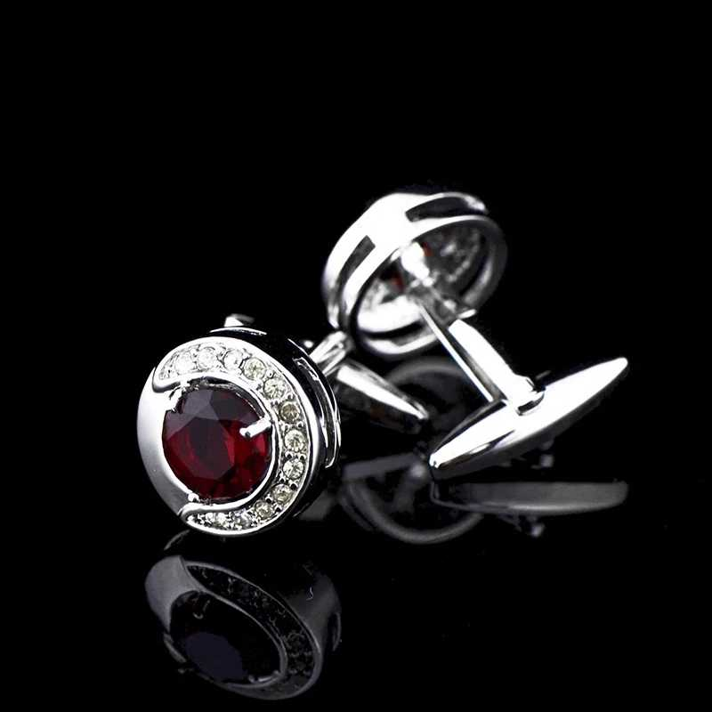Bridegroom Wedding Business Men Cufflinks French Shirts Cuff Links Red Crystal Zircon Crescent Silvery Cufflink With Gift Bag