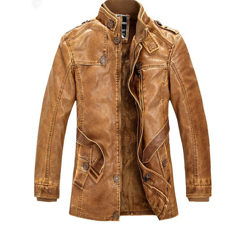 Hot High quality winter men's coat warm jacket Retro men's leather jacket Plus velvet motorcycle windproof PU leather