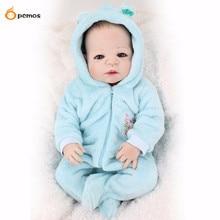 [PCMOS] 2016 Новый 22 «реалистичные полное тело силиконовые reborn baby boy куклы синие одежды + бутылка игрушки куклы бесплатная доставка 16071406