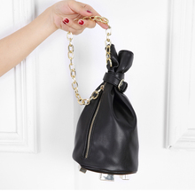 2017 Black Leather Women Bucket Bag Wristlets Chain Clutch Purse Bolsa Flap Designer Handbag Ladies Party Evening Bag