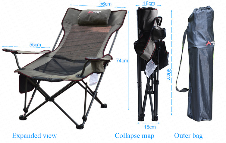 outdoor mesh folding chair beach chair fishing chair Breathable Casual Recliners 600D Oxford cloth Steel Pipe with Storage bag portable fishing chair with cool bag oxford cloth stool with large capacity storage zipper ice bag fishing chair bag 28x29x60cm