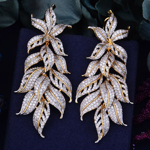 Image 5 - GODKI 80mm Luxury Exclusive Leaf Leaves Cubic Zirconia African Wedding Women Dress Earring Fashion Jewelry