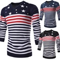 New 2016 fashion star and stripe print slim fit pullover men v-neck casual sweater men jersey hombre size m-2xl 3-colors /TTS6
