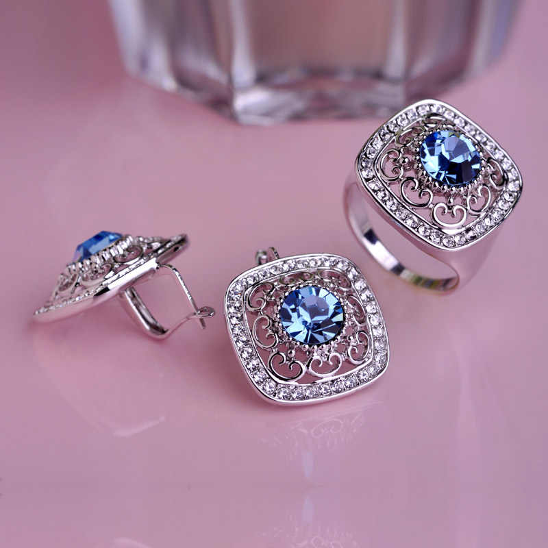 Blucome New Square Purple Crystal Stud Earrings Ring Jewelry Set Girls Women's Wedding Dress Banquet Party Accessories Best Gift