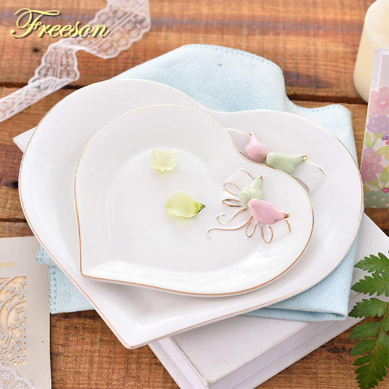 Pastoral Bird Butterfly Bone China Plates Dessert Dish Cake Dishes Porcelain Tray Ceramic Tableware Dinner Plate Decoration
