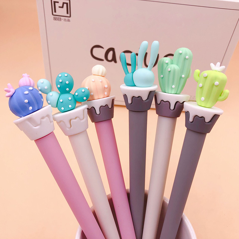 1PC Cute Cactus Pens Novelty Neutral Pens Kawaii Silica Gel Pens For Kids Gift School Office Supplies Stationery