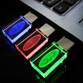 Pen drive 8GB, New Crystal Transparent LED Flash for Ford Car Logo 8GB 16GB 32GB USB Flash 2.0 Memory Drive Stick Pen/ LED Light