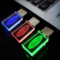 Pen drive de 8 GB, nuevo Cristal Transparente Flash LED para Ford Car Logo 8 GB 16 GB 32 GB Flash USB 2.0 Unidad de Memoria Pluma del Palillo/LED luz
