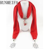Santa Claus Christmas Tree Heart Snowflake Pendant Scarves Women Beautiful Scarf Jewelry Necklace Soft Elegant Jewellery