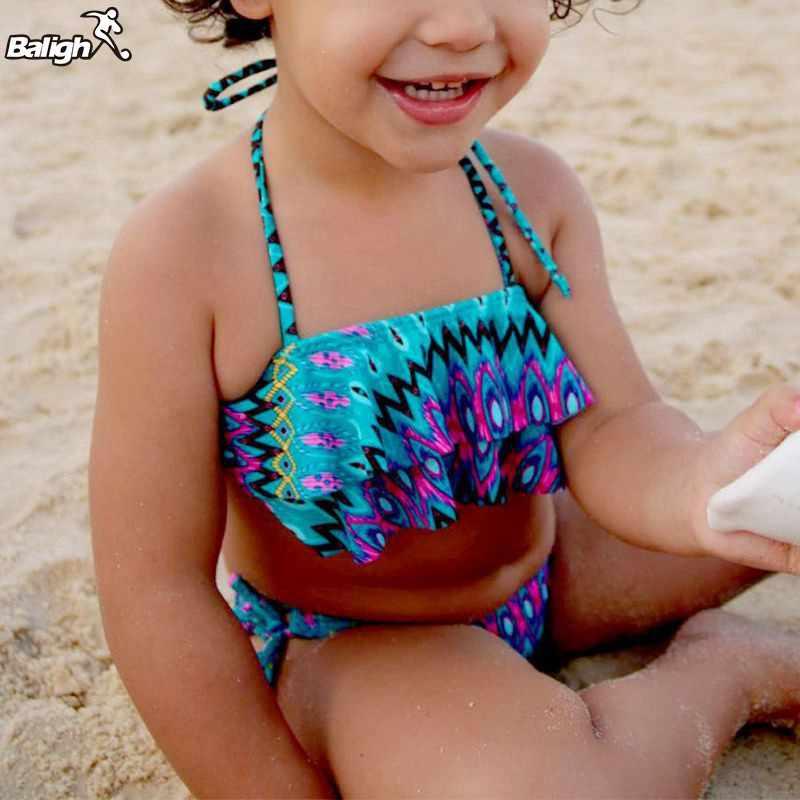 Breve 2017 New Hot Bambini Adorabili Neonate Bikini Floreale Costume Da Bagno Dello Swimwear A Due pezzi Vestito Dalla Spiaggia di Estate Carino