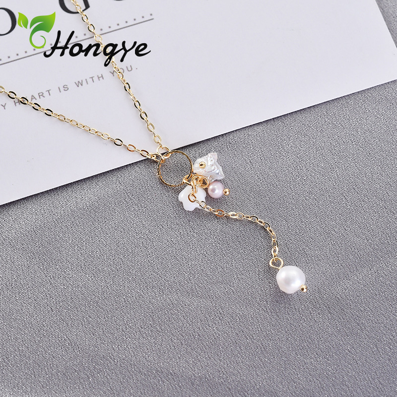 Hongye Freshwater Pearls Necklaces Ladies Beaded Charm Pendant Chain Necklace Gold Tone Fashion Jewelry Neck Accessories Chain