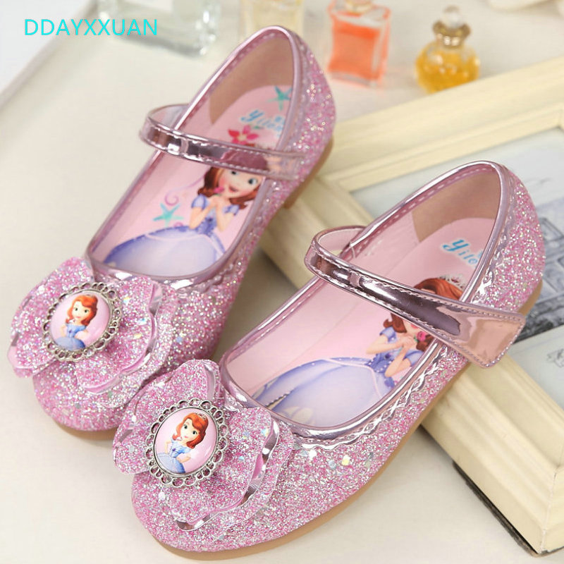 Girls Princess Shoes New Spring Children Sequins Wedding Party Kids Baby Enfants Shoes For Girls Sofia Cartoon Dance Sandals