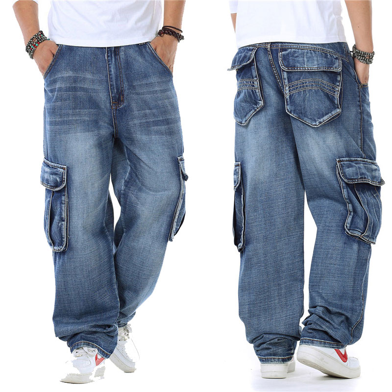 2019 New Japan Style Brand Mens Straight Denim Cargo Pants Biker Jeans Men Baggy Loose Blue Jeans With Side Pockets Jeans Men