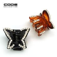 Butterfly Rhinestone Acrylic Hair Claw Small Hairpins Brown Barrette Crab Korea Acetate Hair Clips for Women Hair Accessories