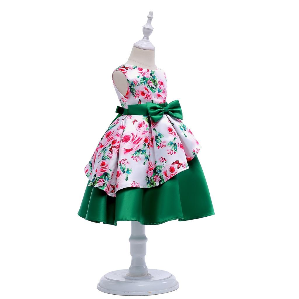 HIBYHOBY 2018 New Arrival Girl Bow Asymetryczna bez rękawów drukuj - Ubrania dziecięce - Zdjęcie 3