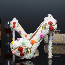 Luxury Diamond Flower Wedding Bridal Shoes Round Toe Prom Party High Heels Sexy Ladies Customized White Pearl Cherry High Heels
