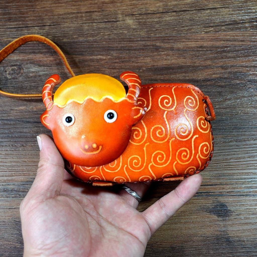 Handmade cowhide coin purse Zodiac sheep bag genuine