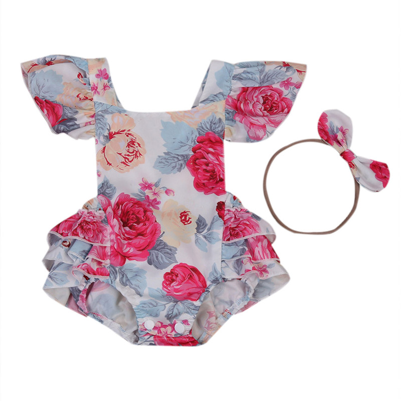 Rose Floral Printed Baby   Romper   Vintage Baby Girls playsuit   Rompers   baby girl Backless clothes