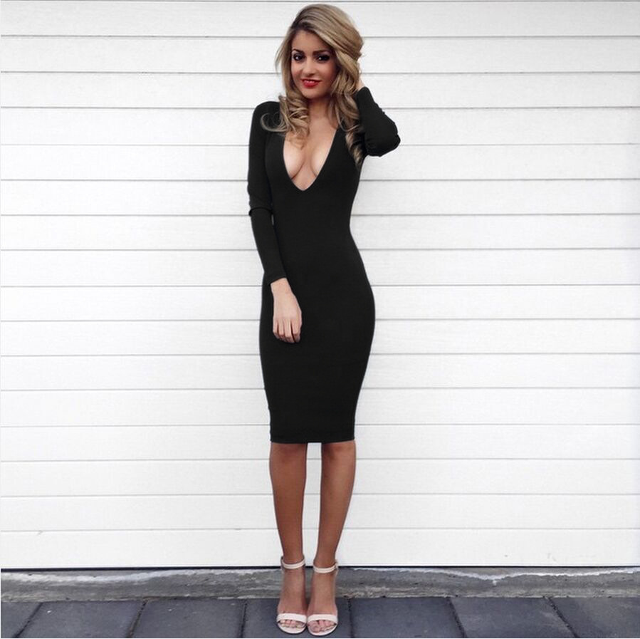 Black plunging v neck long sleeved dress