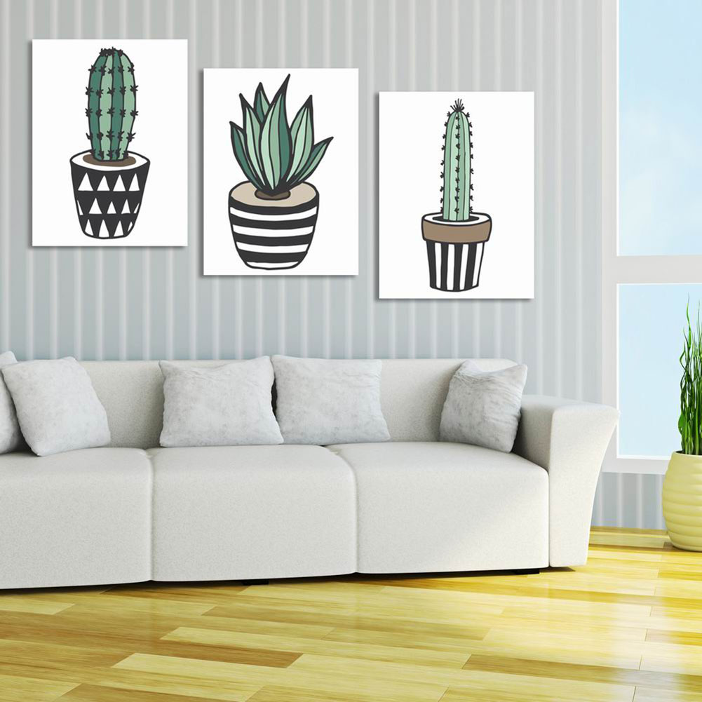 3 Panel Cactus Canvas Print Wall Art Painting For Living