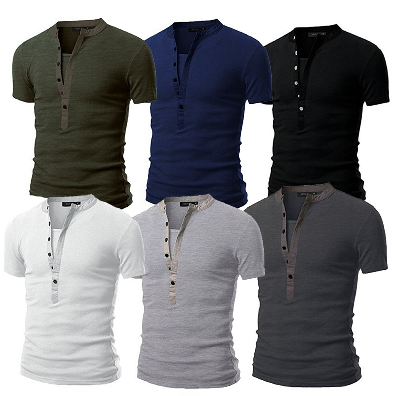 2019 UK Stock Men Slim Fit V Neck Short Sleeve Muscle Tee T-shirt Button Casual Lightweight T-shirt Casual Tops Henley Shirts