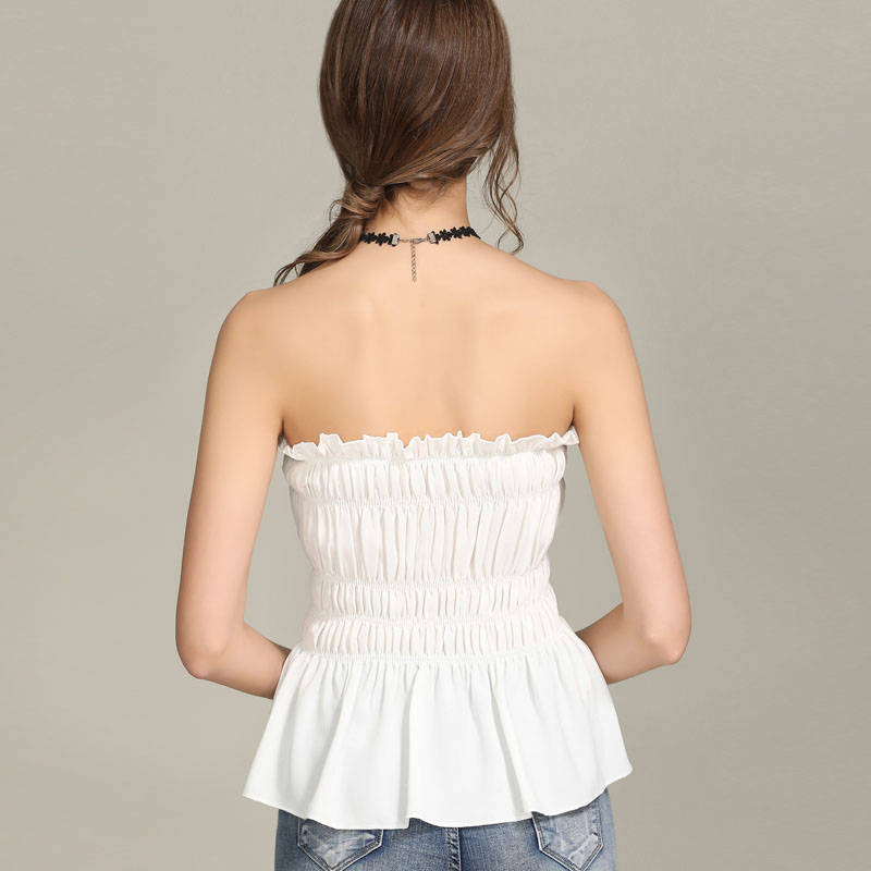 AOSSVIAO Off shoulder lace up sexy blouse shirt Women ruffle sleeveless blouse tops 2019 fashion summer white blouse feminine in Blouses amp Shirts from Women 39 s Clothing