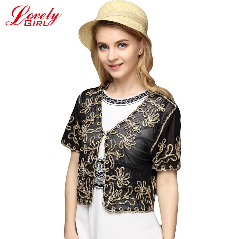 New Europe 2020 Summer Style Boleros Fashion Women Vintage Boho Kimono Cardigan Lace Crochet Blouse Casual Perspective Shawl