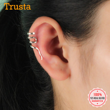 Trusta 100% 925 Sterling Thai Silver Snake Ear Cuff Clip On Earrings Women Fashion Girl Without Piercing Earings Jewelry DS1190