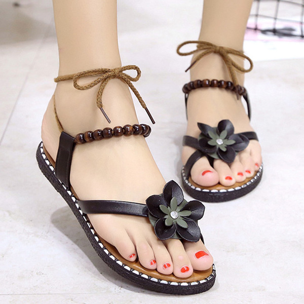 2018 New Fashion Sweet Women Flat Sandals Thong Flower Beads Bandage Girl Summer Beach Casual Shoes Flip Flops BS88 free shipping 2016 summer diamond woman sandals casual flat thong flip flops fashion beads wild sandals white black st338