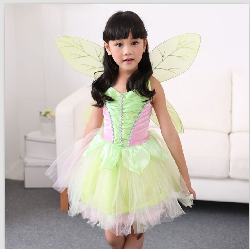 Movie Tinker Bell Costume Girls Tinkerbell Fairy Cosplay Dress and Wings Halloween Children's Day Kid Fancy Dress