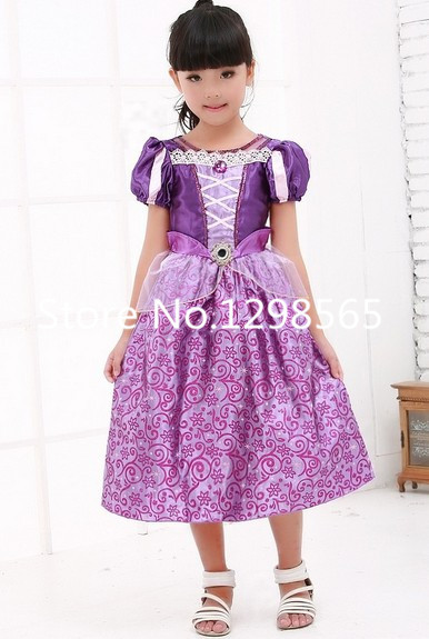 Free Shipping Halloween Girls Rapunzel Tangled Princess Dress Cosplay Costume
