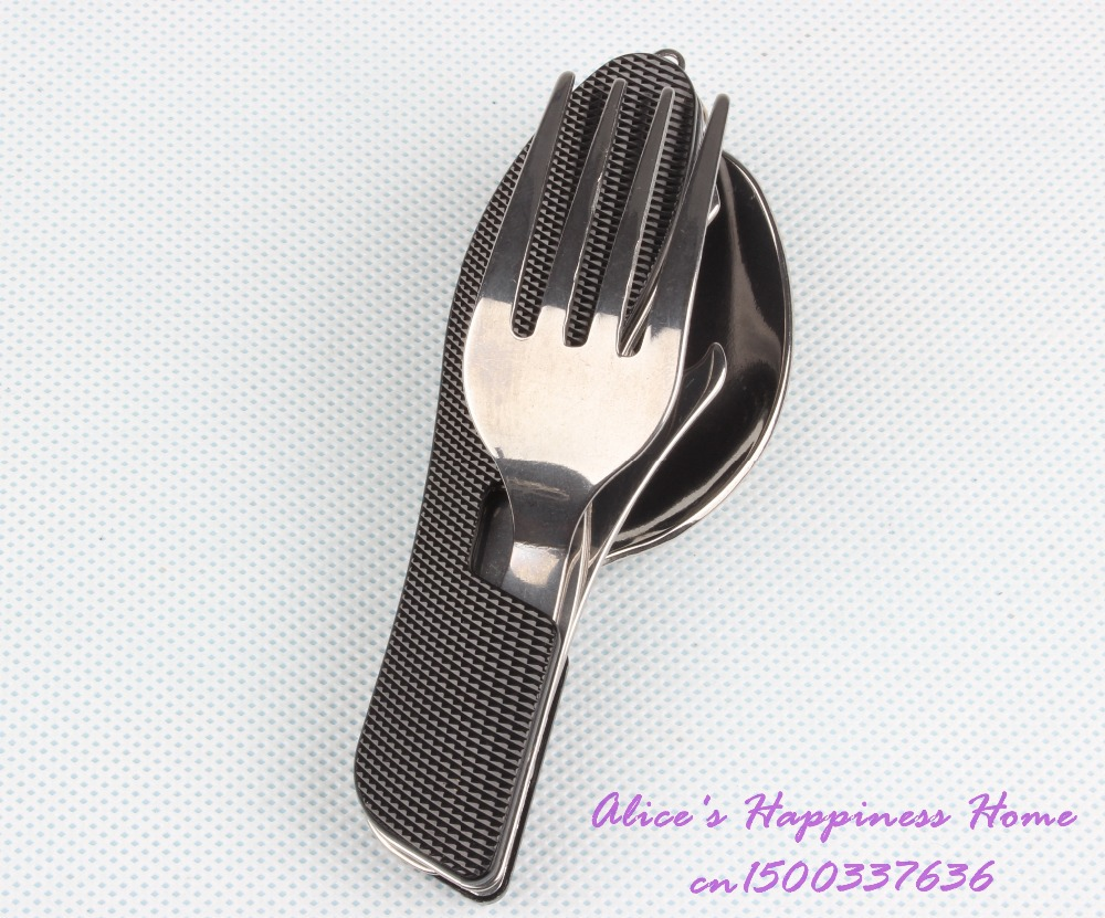 Camping & Hiking Beautiful 3 In 1 Edc Outdoor Camping Cutlery Equipment Tourism Portable Tool For Gift Stainless Steel Folding Fork And Scoop Free Shipping Sports & Entertainment