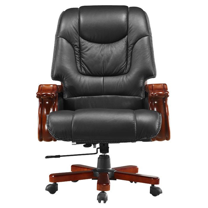 ... Leather Black Leather Executive Chair Boss Chair Cowhide Leather  Reclining Green Wood Computer Chair Swivel Office ...